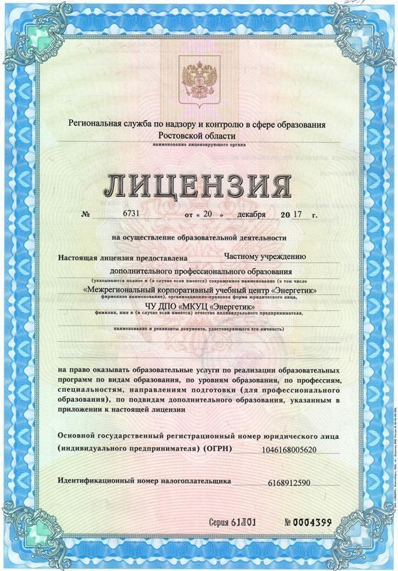 Лицензия Региональной службы по надзору и контролю в сфере образования Ростовской области